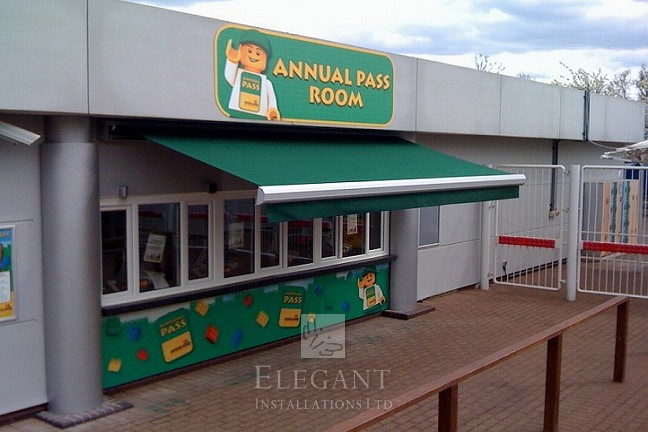 Our awning installation above a LegoLand ticket booth