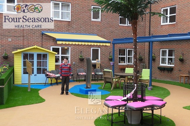 Elegant Awnings installed to Four Seasons Health Care sensory garden at Marborough Court