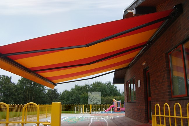 Our many awnings for state authorites include this school in Merthyr Tydfil