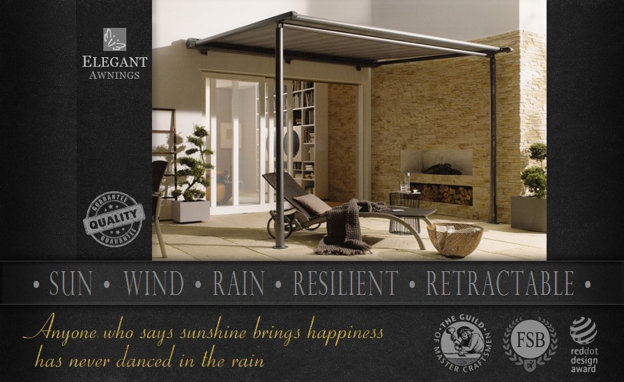 All Weather Awnings Offer Retractable Protection From Sun Wind And Rain